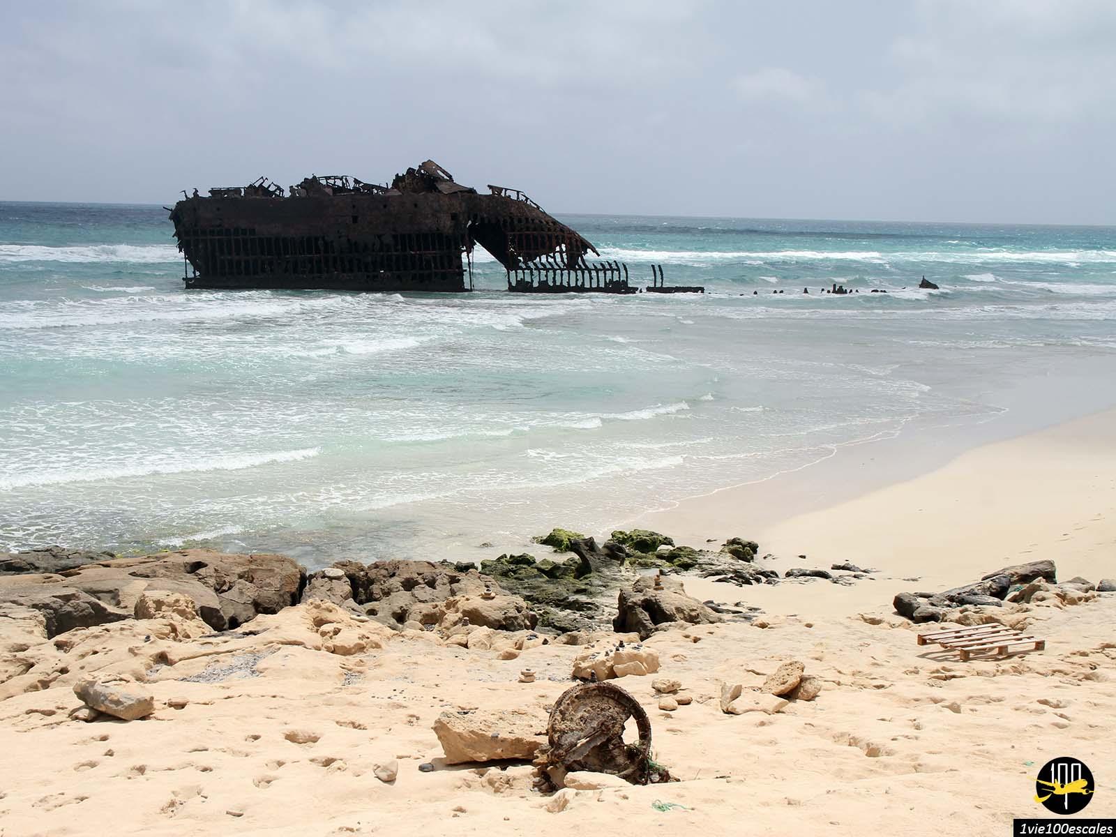L'épave du Cabo Santa Maria de l'île de Boa Vista au Cap-Vert