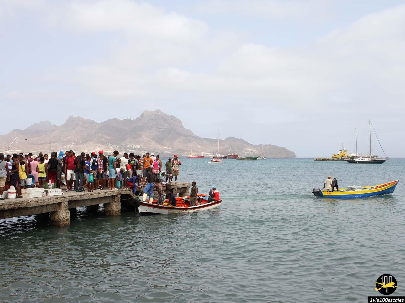 L'arrivée des pêcheurs sur le ponton du port de Mindelo sur l'île de Sao Vicente