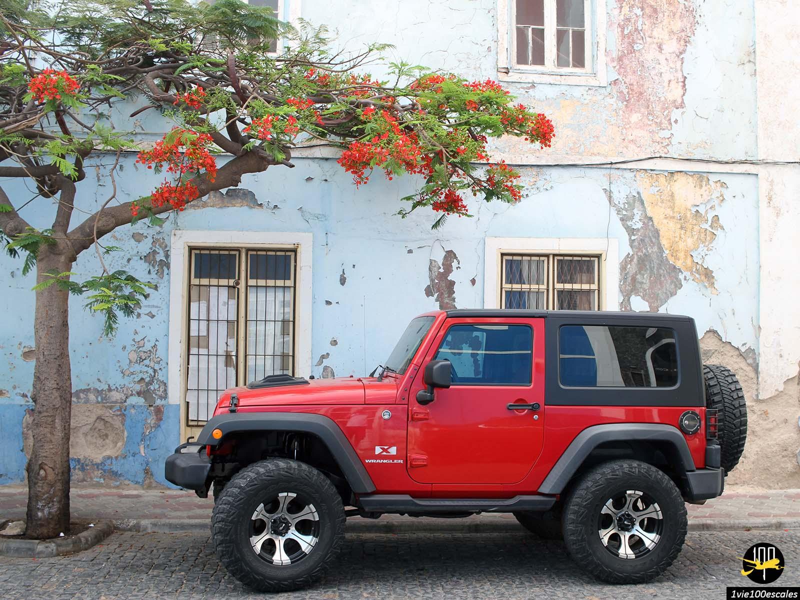 Les rues en pavé de Mindelo sur l'île de Sao Vicente