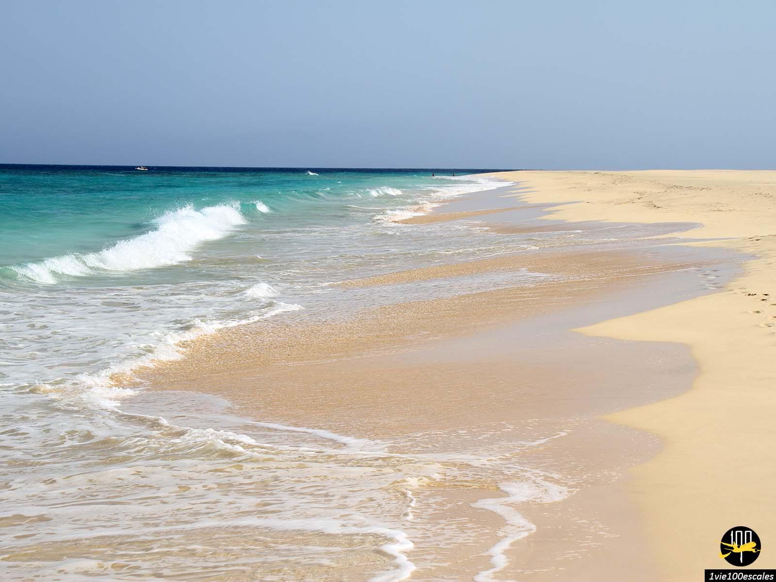 Les vagues et le sable de Santa Maria sur l'île de Sal