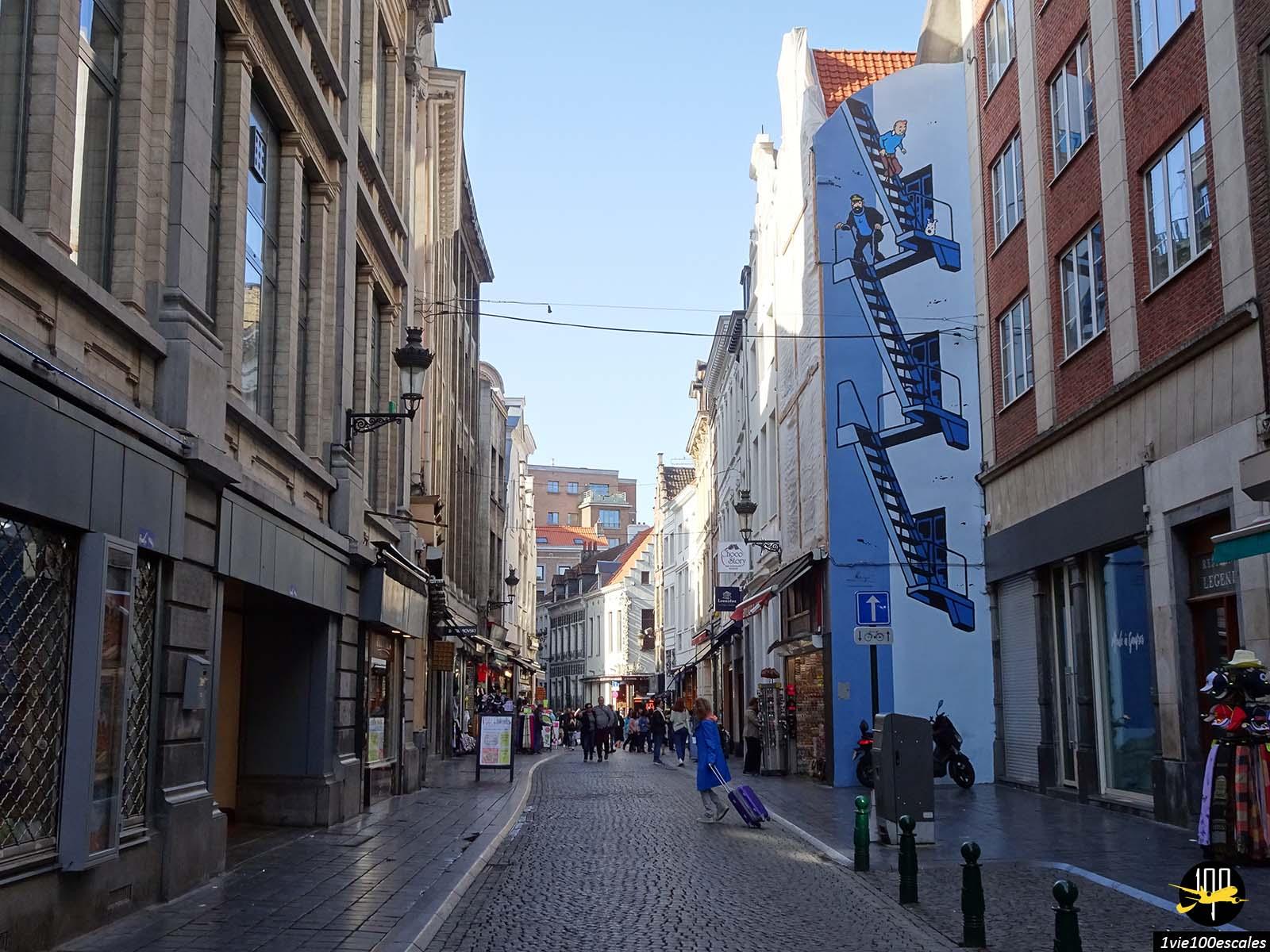 Le dessin de Tintin et Milou sur un mur du centre ville de Bruxelles