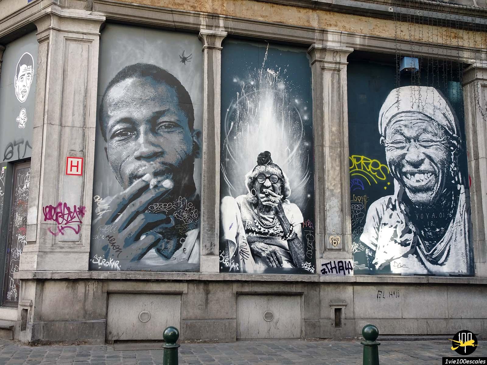 Le street art ethnique dans le centre ville de Bruxelles
