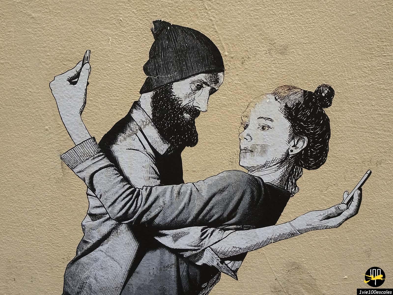 Collage de street art dans les rues du centre ville de Bruxelles