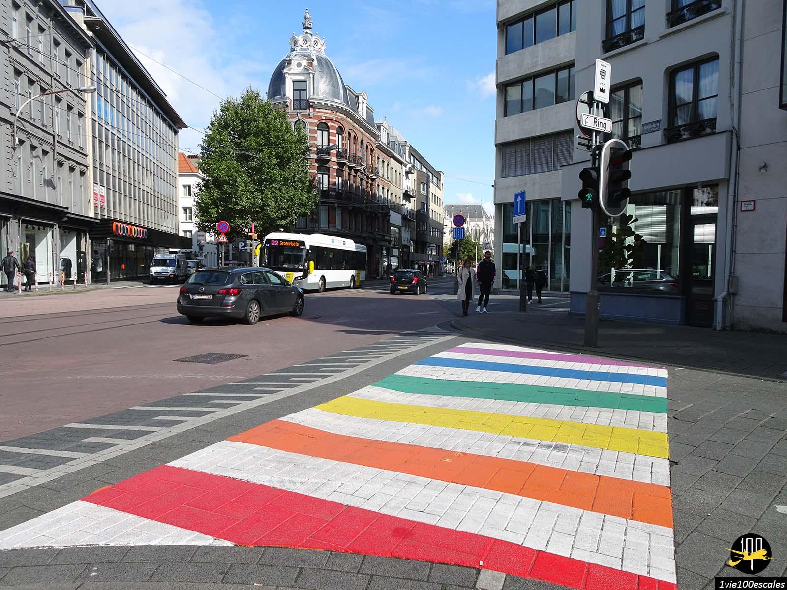 Un passage piéton coloré dans les rues d'Anvers