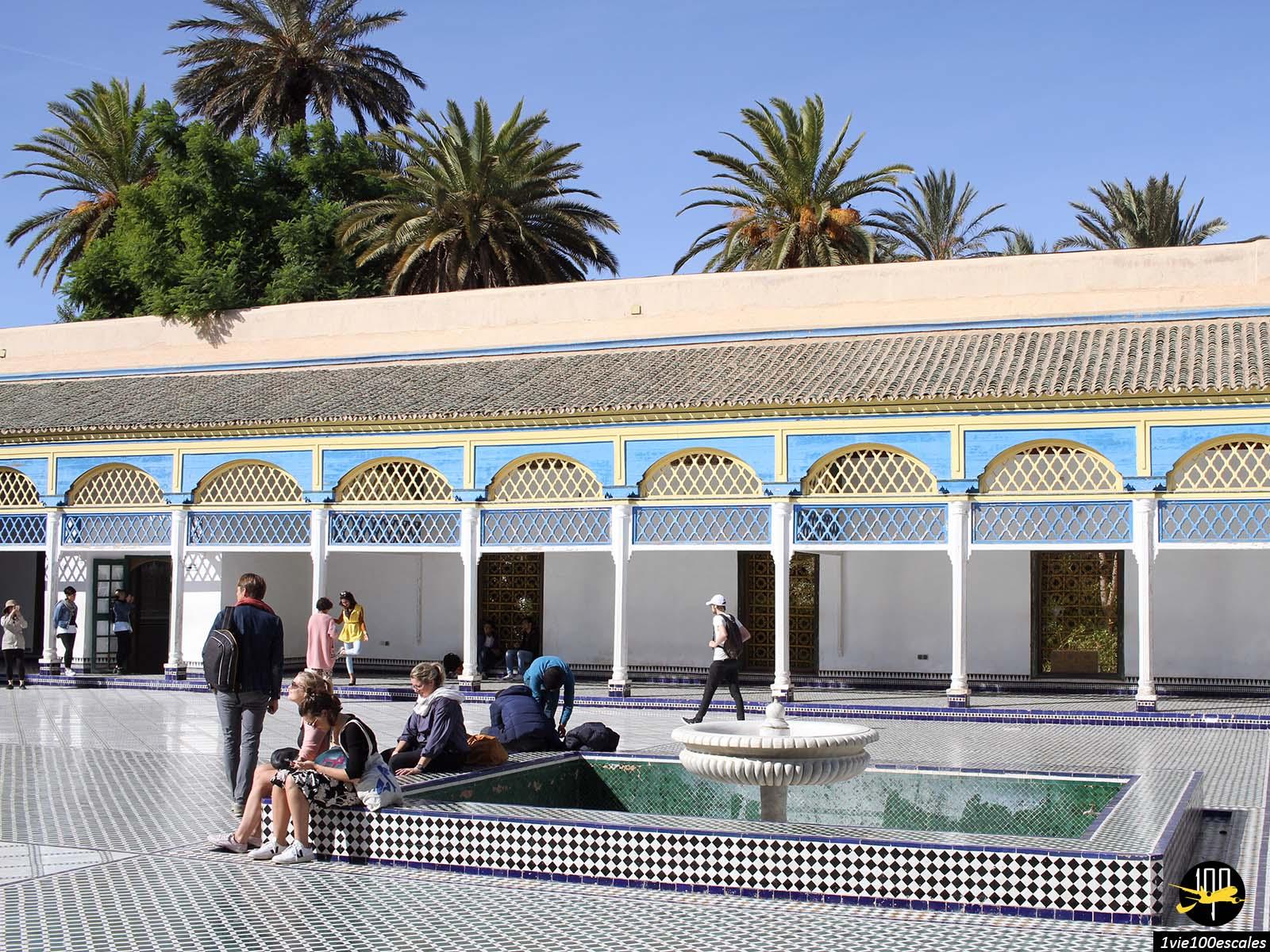 La grande cours du Palais Bahia de Marrakech au maroc